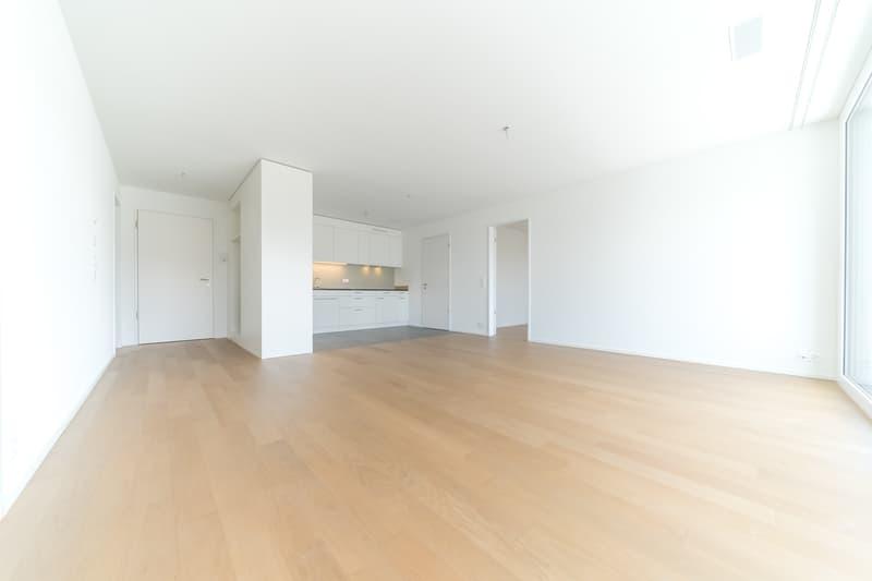 Wohnzimmer mit Blick in den Eingangsbereich mit Garderobe und Küche