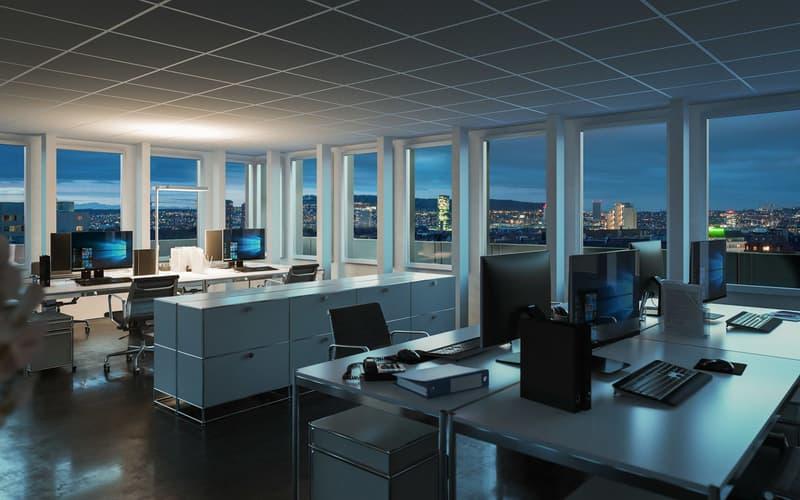 Über den Dächern von Zürich: Attika-Büro mit Panoramaterrasse