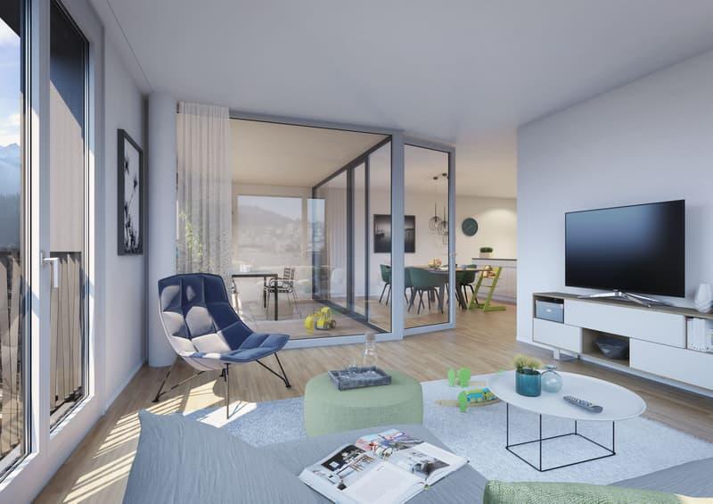 Visualisierung Wohnbereich mit Loggia
