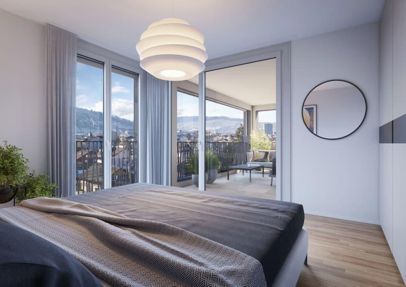 Visualisierung Schlafzimmer mit Aussicht