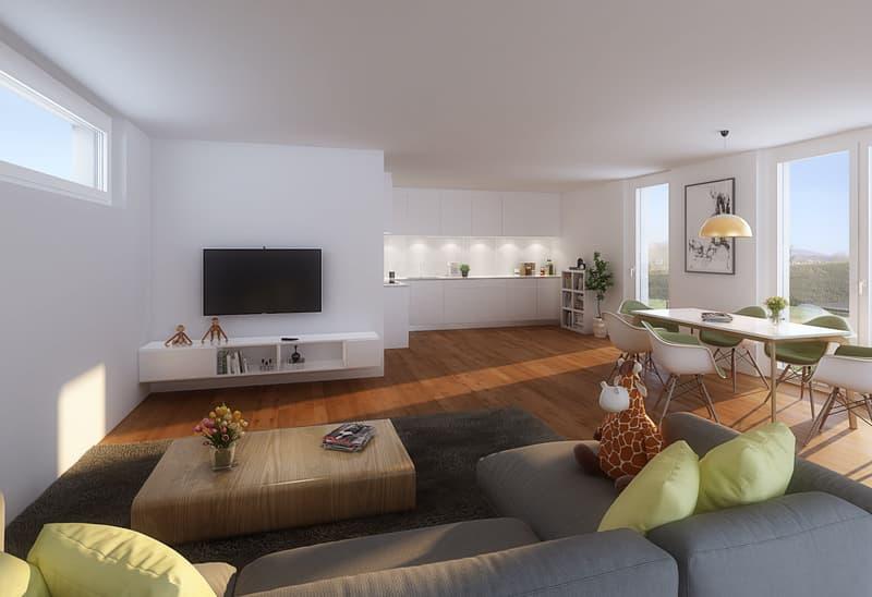 Wohn- und Essbereich mit Küche Visualisierung