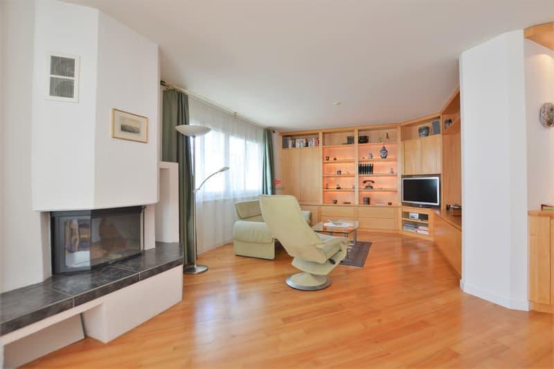 Im Wohnzimmer wurden hochwertige Holzschränke eingebaut
