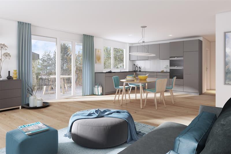 "NEUBAUPROJEKT ""Zelgli"" 2.5-Erdgeschoss-Zimmerwohnung mit 115 m2 Landanteil"