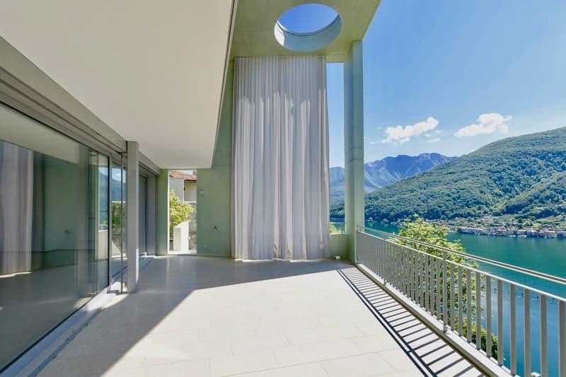 Moderna Villa a Schiera con Vista sul Lago di Lugano a Vico Morcote