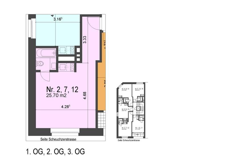 Einzimmerwohnung - Miete inkl. TV / WLAN / Waschküchenbenutzung / Strom / Heizung (4)