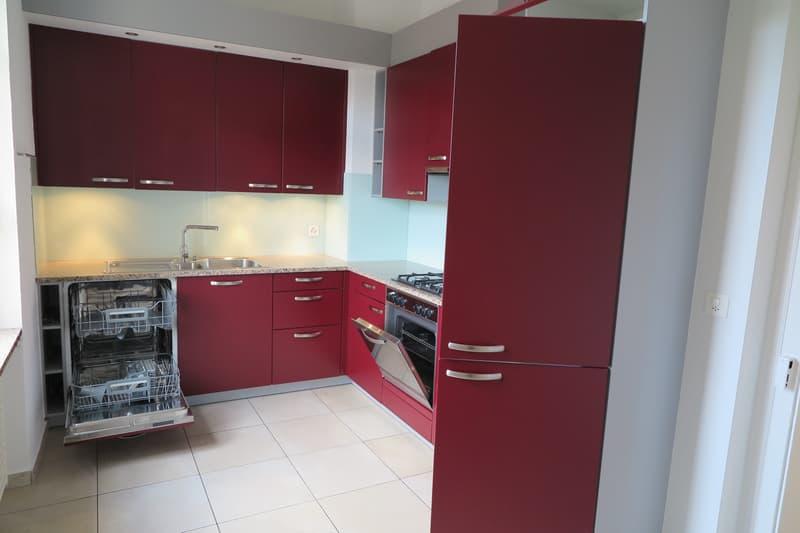 Küchenansicht mit Gasherd, Kühlschrank und Tiefkühler