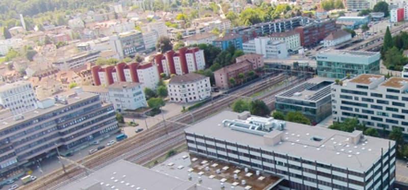Luftaufnahme Grabenstrasse 5 zu Bahnhof $schlieren 3 Minuten