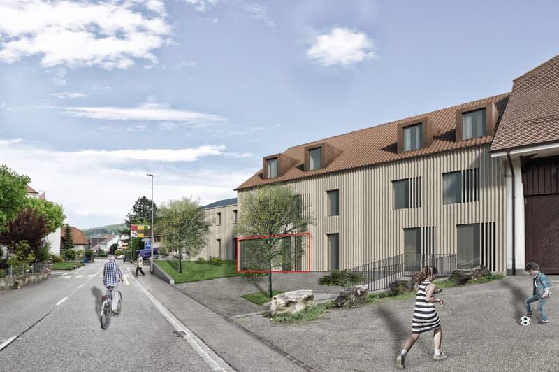 Neubauprojekt «Alte Schreinerei»: Moderne Erdgeschosswohnung mit gedecktem Sitzplatz