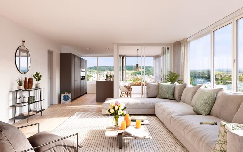 Stilvolle Familienwohnung mit erstklassiger Aussicht im RhyfallTower
