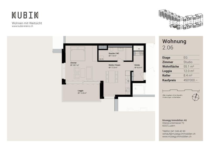 Beispielgrundriss 1.5 Zimmer-Wohnung