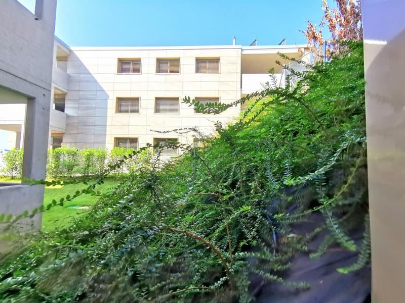 Scorcio dalla camera sul tranquillo verde condominiale curato