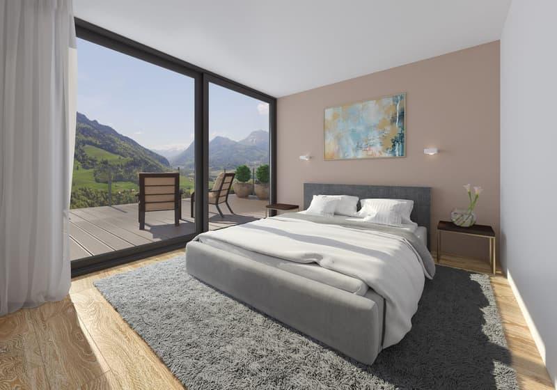Chambre à coucher avec accès à la terrasse