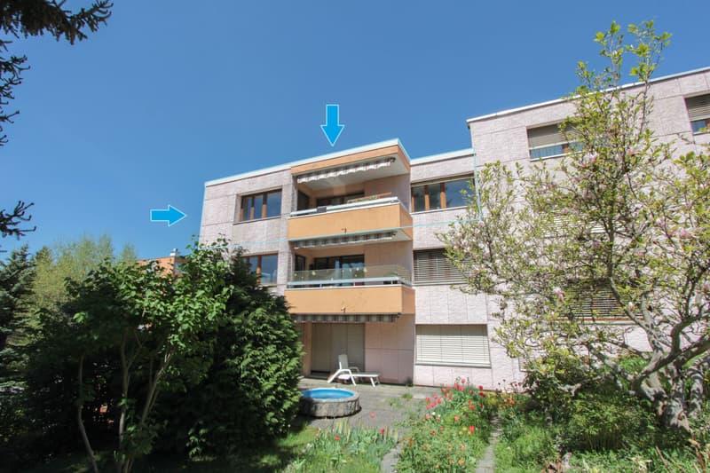 Vue sur l'appartement depuis le jardin commun