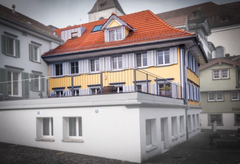 Räumlichkeiten im 1., 2. und Dachgeschoss (gelber Teil)