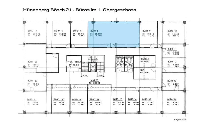 Grundriss 1 OG Büros August 2020_ Büro 6, 9