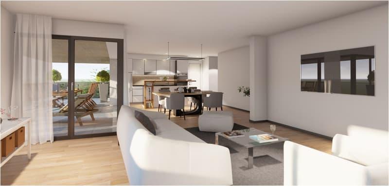 Pièce à vivre avec cuisine ouverte sur le séjour et terrasse