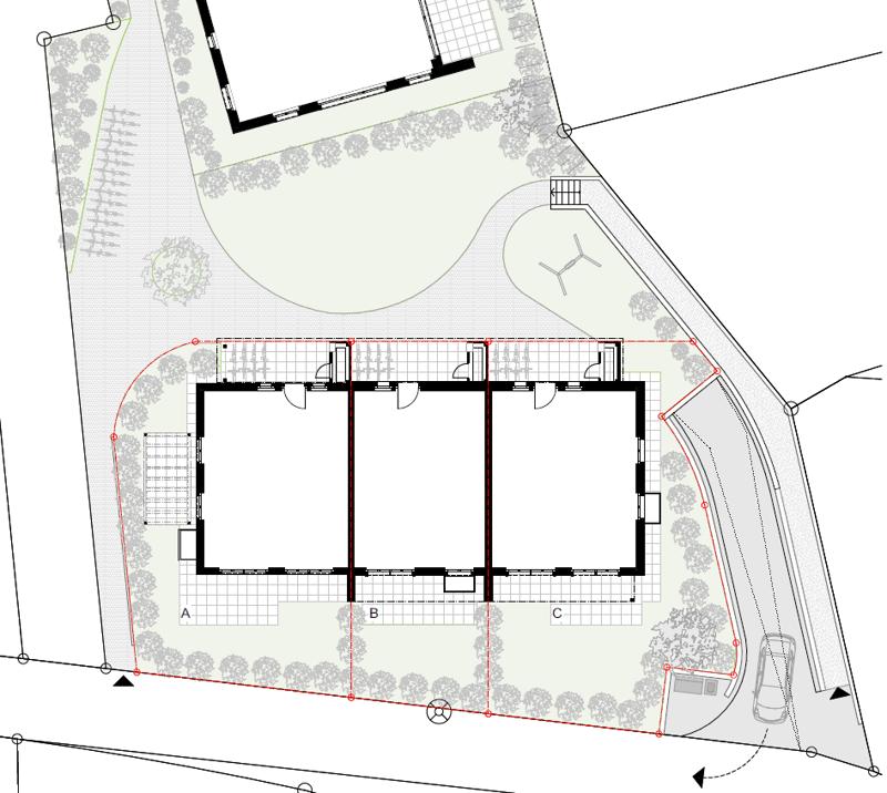 Übersichtsplan mit Haus A, B und C