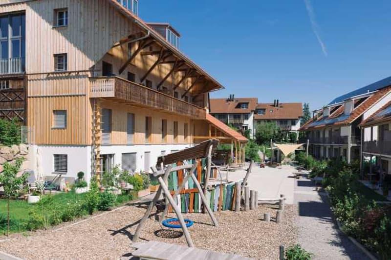 Siedlung Winkelhof mit Spielplatz und Gemeinschaftsgarten