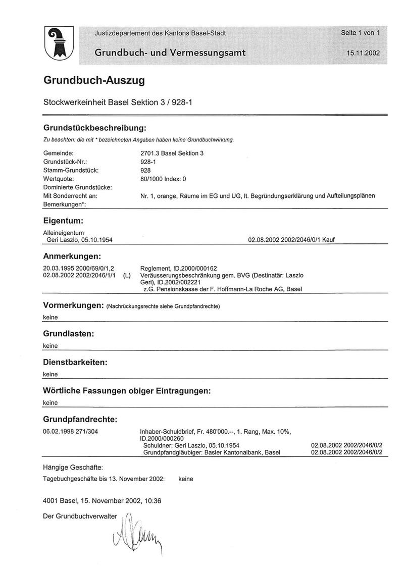 Grundbuch-Auszug