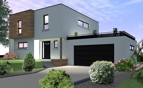 Modernes Haus Mit Einem Flachdach Auf Sierentz Neben Basel Sierentz