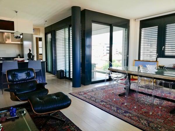 Lugano centro città 3.5 loc. 120 mq. 2 camere e 2 bagni a c